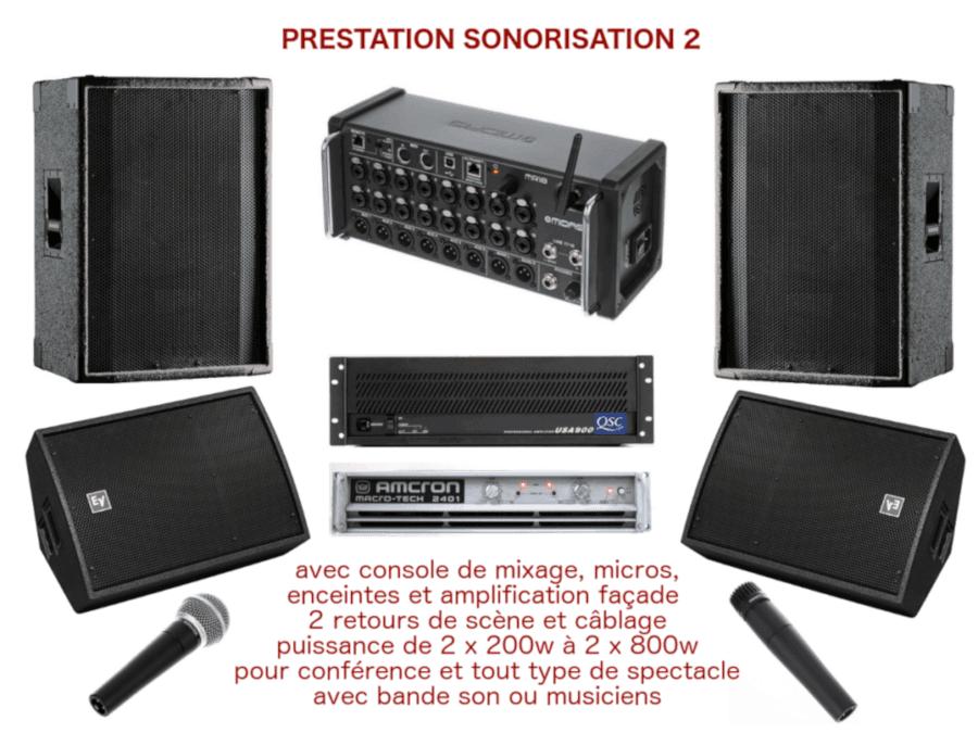 Prestation sonorisation pour spectacle de petite envergure, conférence, inauguration avec console de mixage, enceintes de diffusion, 2 retours de scène, amplification, micros et câblage.