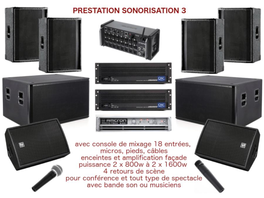 Prestation sonorisation pour spectacle de moyenne envergure, conférence, inauguration avec console de mixage, enceintes de diffusion, 4 retours de scène, amplification, micros et câblage.
