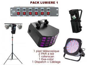 Location pack lumière comprenant 1 pied télescopique, 2 PAR à leds, 1 rollerscan, 1 exa-color, 1 dispatch + câblage. Livraison et installation sur demande