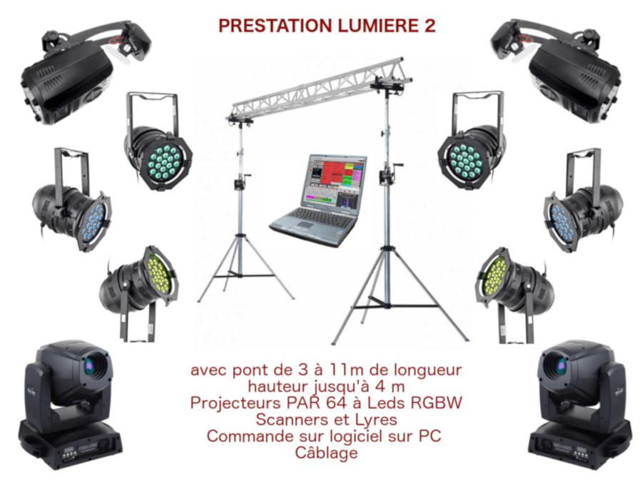 Prestation éclairage pour spectacle, conférence, inauguration avec pont de 3 à 11m de long, projecteurs Par 64 à leds blancs et couleurs, scanners et lyres, commande sur console traditionnelle et/ou logiciel sur PC câblage.