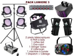 2 Pieds Télescopique, 4 PAR À Leds, 1 Reflex Led, 1 Exa-Color, 1 Stinger Gobo, 2 Rollerscan, 1 Machine À Fumée, 1 Dispatch + Câblage. Conseillé Jusqu'à 250 Personnes.