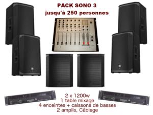 1 Table De Mixage, 2 Amplis 2x600w, 4 Enceintes + Caissons De Basses, 1 Micro, Câblage. Conseillé Jusqu'à 250 Personnes.