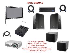 Pack vidéo projecteur avec écran special conférence, mariage, projection scolaire. 1 écran 3,30 m x 1,80 m sur structure, 1 Vidéo-projecteur + câblage, 1 ampli avec processeur, 2 enceintes + caissons de basses, 1 table de mixage