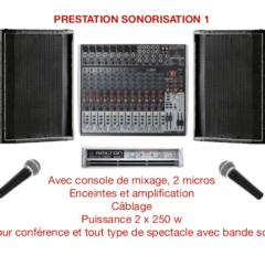 prestation sonorisation 2 x 250 watts