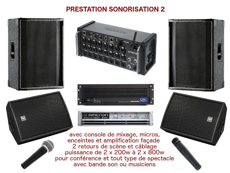 Prestation sonorisation. Matériel et technicien son pour spectacle, conférence, inauguration ...
