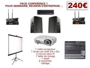 location video-projecteur, ecran, sonorisation, micros pour conférence
