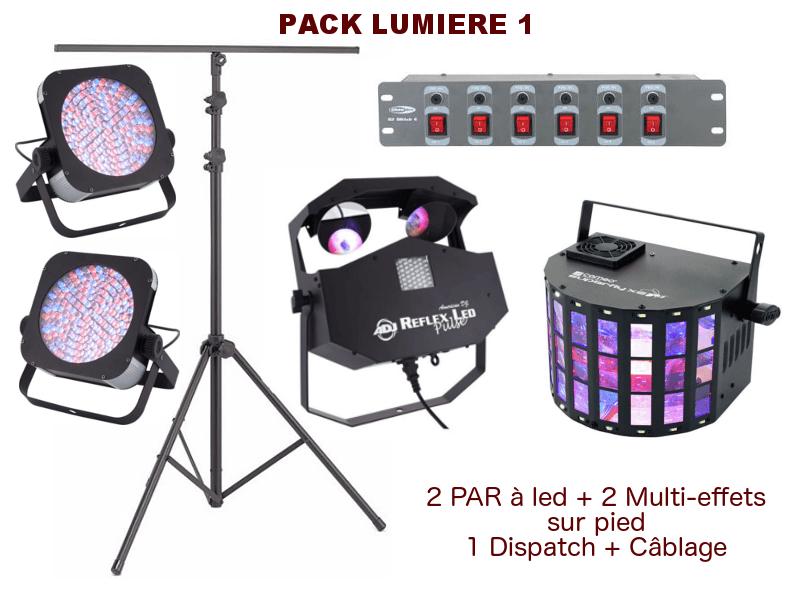 Location Pack lumière special mariage, anniversaire, soirée dansante. 2 PAR à leds, 2 multi-effets sur pied, 1 Dispatch + câblage.