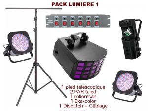 Pack lumière special mariage, anniversaire, soirée dansante. 1 pied télescopique, 2 PAR à leds, 1 Roller-scan, 1 Exa-color, 1 Dispatch + câblage.