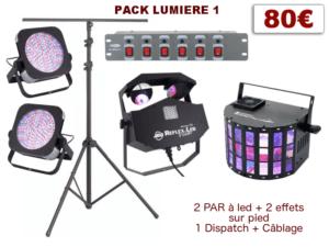 Pied télescopique, 4 PAR à leds, 2 multi-effets, 1 Dispatch + câblage
