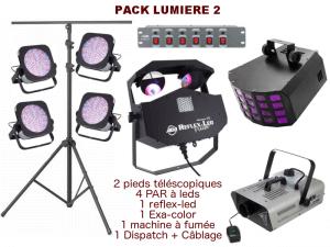 2 pieds télescopique, 4 PAR à leds, 1 Reflex Led, 1 Exa-color, 1 machine à fumée, 1 Dispatch + câblage
