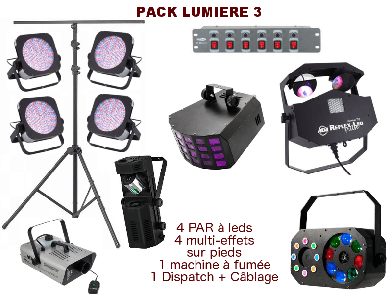 2 pieds télescopique, 4 PAR à leds, 4 multi-effets, 1 machine à fumée, 1 Dispatch + câblage