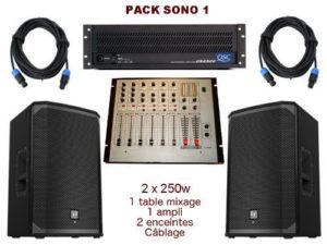 Pack sono special mariage, anniversaire, soirée dansante. 1 table de mixage, 1 ampli, 2 enceintes x 250 w, câblage.