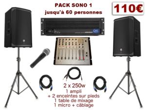 Pack sono special mariage, anniversaire, soirée dansante. 1 table de mixage, 1 ampli, 2 enceintes x 250 w, 1 micro, câblage.