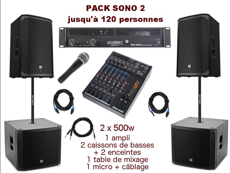 Pack sono special mariage, anniversaire, soirée dansante. 1 table de mixage, 1 ampli 2x500w, 2 caissons de basses, 2 enceintes, 1 micro, câblage.