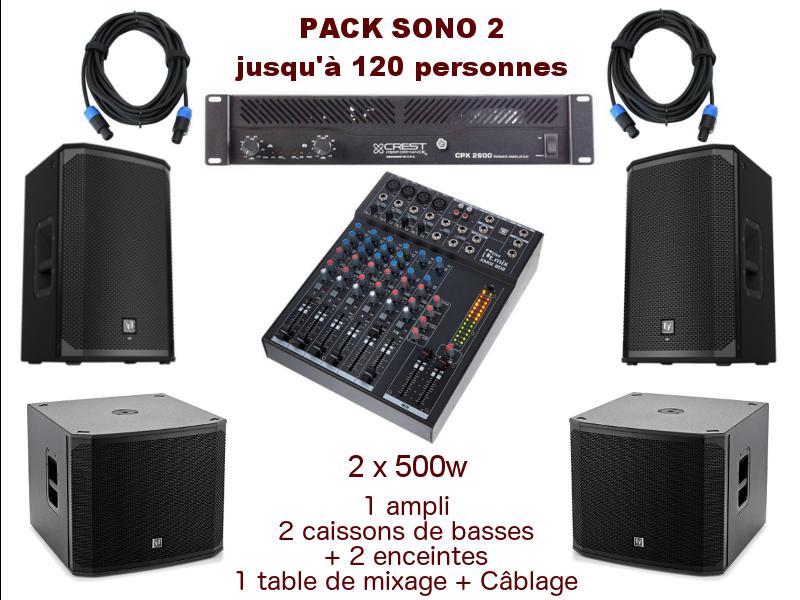 Pack sono special mariage, anniversaire, soirée dansante. 1 table de mixage, 1 ampli 2x500w, 2 enceintes, câblage.