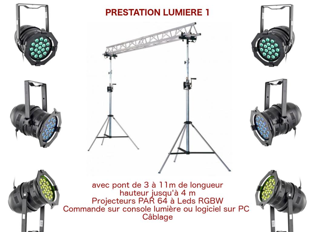 Prestation éclairage pour spectacle de petite envergure, conférence, inauguration avec pont de 3 à 11m de long, projecteurs Par 64 à leds blancs et couleurs, commande sur console traditionnelle et/ou logiciel sur PC câblage.