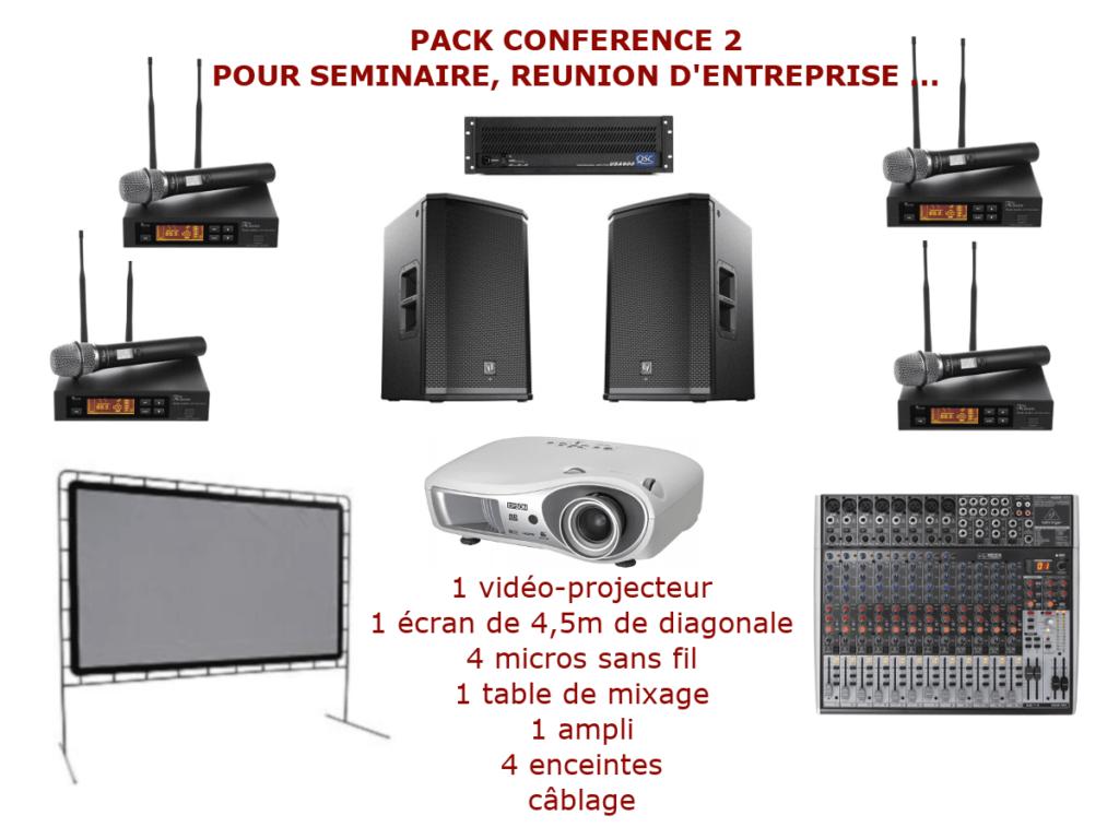 Location matériel pour conférence à Montpellier et environs. Vidéo-projecteurs, sonorisation, micro HF. Console de mixage jusqu'à 8 micros et 4 entrées ligne stéréo.