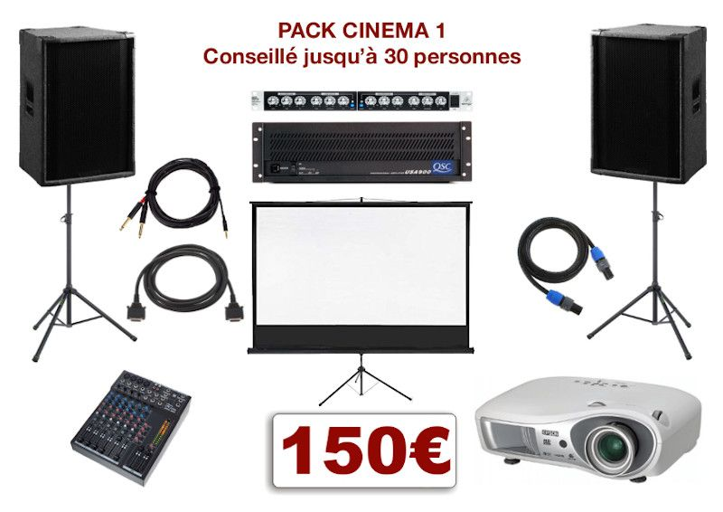 Pack vidéoprojecteur avec écran special conférence, mariage, projection scolaire. 1 écran 2,00 m x 2,00 m sur pied télescopique, 1 Vidéo-projecteur + câblage, 1 ampli avec processeur, 1 table de mixage