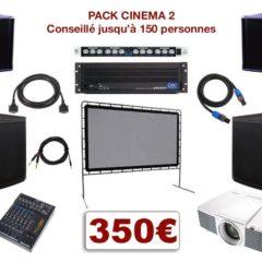 Pack vidéoprojecteur avec écran special conférence, mariage, projection scolaire. 1 écran 3,30 m x 1,80 m sur structure, 1 Vidéo-projecteur + câblage, 1 ampli avec processeur, 2 enceintes + caissons de basses, 1 table de mixage