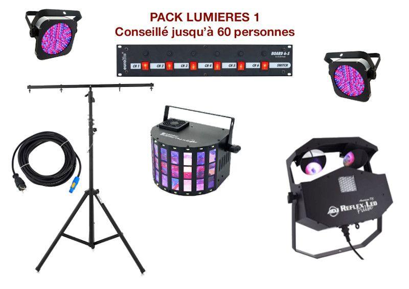 Pack lumière special mariage, anniversaire, soirée dansante. 2 PAR à leds, 2 multi-effets sur pied, 1 Dispatch + câblage.