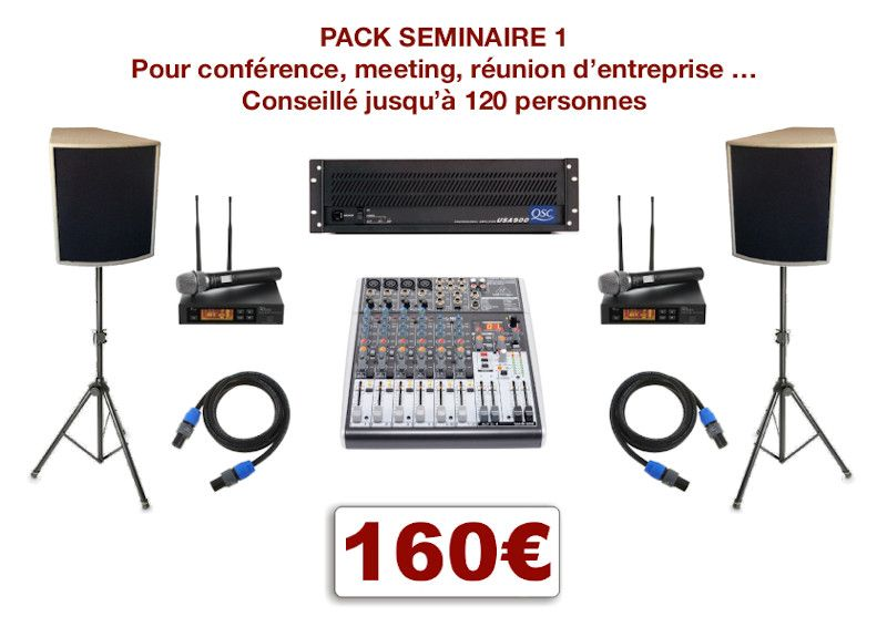 Location matériel pour conférence à Montpellier et environs. Vidéo-projecteurs, sonorisation, micro HF. Console de mixage 2 micros H-F et 2 entrées ligne stéréo.