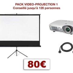 Pack vidéo projecteur avec écran special conférence, mariage, projection scolaire. 1 écran 2,00 m x 2,00 m sur pied télescopique, 1 Vidéo-projecteur + câblage.