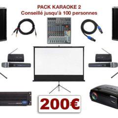 Location Pack Karaoké avec vidéo-projecteur, écran, micros, mixage, sonorisation avec livraison et installation.
