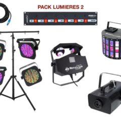 Pied télescopique, 4 PAR à leds, 2 multi-effets, 1 machine à fumée, 1 Dispatch + câblage