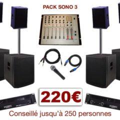 Pack sono special mariage, anniversaire, soirée dansante. 1 table de mixage, 2 amplis, 4 enceintes + 4 caissons de basses, 1 micro, câblage.